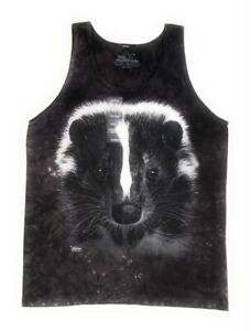 The-Mountain-100-Cotton-Men-039-s-Tank-Top-Skunk-Portrait-NWT