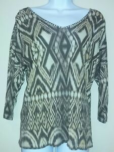 Chicos-womens-size-0-small-shirt-top-brown-and-beige-v-neck-3-4-sleeves