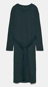 ZARA-WOMAN-NWT-SALE-BELTED-DRESS-DRESS-GREEN-SIZE-L-REF-1198-632