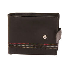 Sophos - Black Leather Tab Wallet with Colour Stitch in Presentation Gift Box
