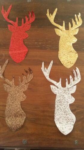 XL-Patch Hirsch Rentier Weihnachten mit Pailletten Bügelbild golden Geweih