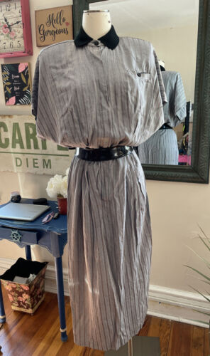 Vtg 70s Does The 40s Style Rayon WW2 Day Dress Ruc
