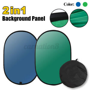 Outdoor Green/Blue 2In1 Background Panel Backdrop Reversible Collapsible Screen