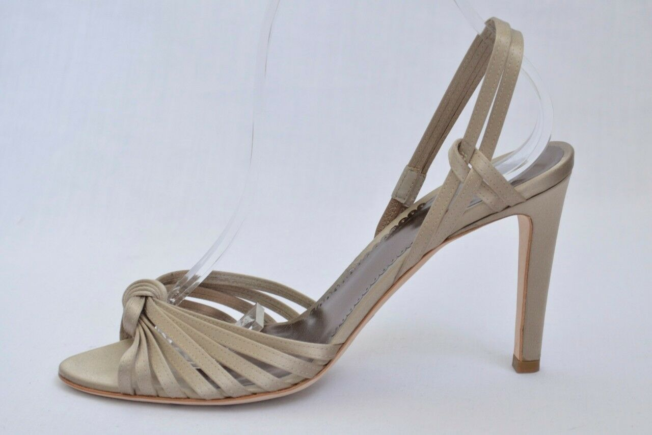 GIORGIO ARMANI Womens Taupe Satin Strappy Slingback Sandal Pump 8.5-38.5 NEW