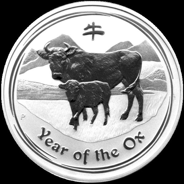 0,5 Oz Argent 999 50 Pour Cent Lunar Ii 2009 Ox Argenté Année De Boeuf Soulager La Chaleur Et Le Soleil