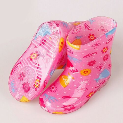 UK Infant Baby Toddler Kid Girls Waterproof Non-Slip Wellington Boots Rain Shoes