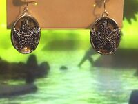 Kirks Folly Under The Sea Starfish Oval Silver Earrings Free Ship