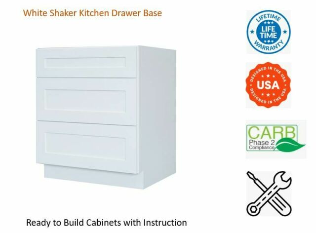 Everyday Cabinets 21 Inch White Shaker 3 Drawer Base Kitchen Cabinet For Sale Online Ebay