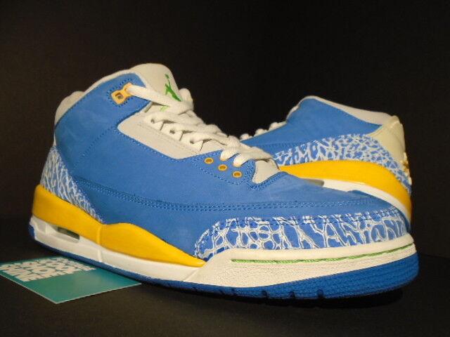 2007 Nike Air LS Jordan III 3 Retro LS Air DTRT BRISK Bleu GOLD CEMENT blanc vert 10.5 e386d9