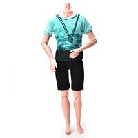 1x Green T-shirt Suit For Ken Doll Barbie Cloth Black Short Pants Fashion Doll