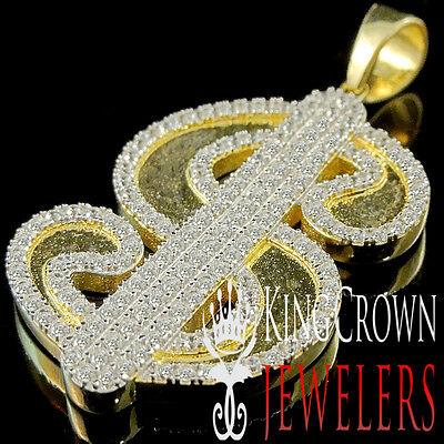 "10K Yellow Gold On Silver 1.85/'/' Dollar /""$/"" logo Sign Simu Diamond Charm Pendant"