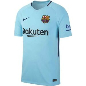 Nike FC Barcelona Season 2017 - 2018 Away Soccer Jersey Blue Kids ... 1bd5e7104a5b3