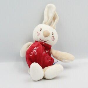 Doudou-lapin-beige-rouge-blanc-mouchoir-Cajou-SUCRE-D-039-ORGE-Lapin-Mouchoir