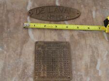 Antique Delaval Cream Separator 17 Brass Tag Info
