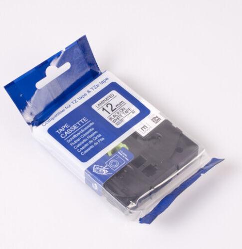 Schriftband kompatibel mit Brother P-Touch 1290DT 1290VP  12mm schwarz//weiss