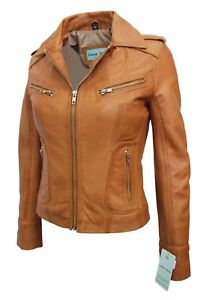Luxury New Ladies City Jacket Tan Real Soft Nappa Leather Casual Style Design
