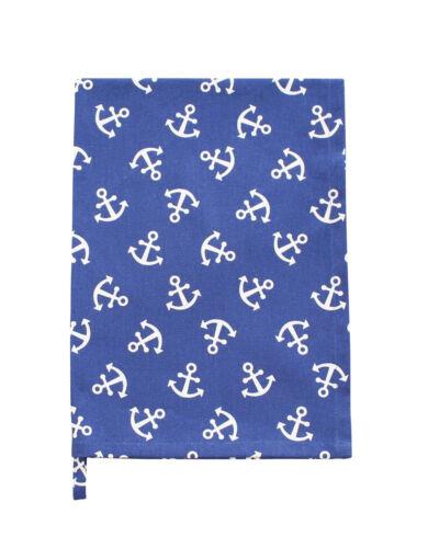 Krasilnikoff Tea Towel Anchor Blue with White Anchors Cotton Maritime 50x70