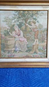 "French Tapestry Framed ""Playing with the Baby"" Has Certificate of Authenticity"