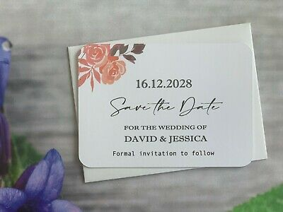 Personalised Wedding Save The Date Evening Invite Cards Magnet Envelopes VT201a