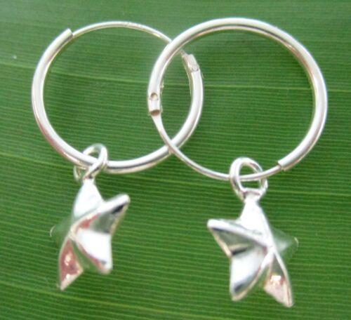 "925 sterling silver 14mm sleeper with /""5 star/"" charm plain Earrings Girl Women"