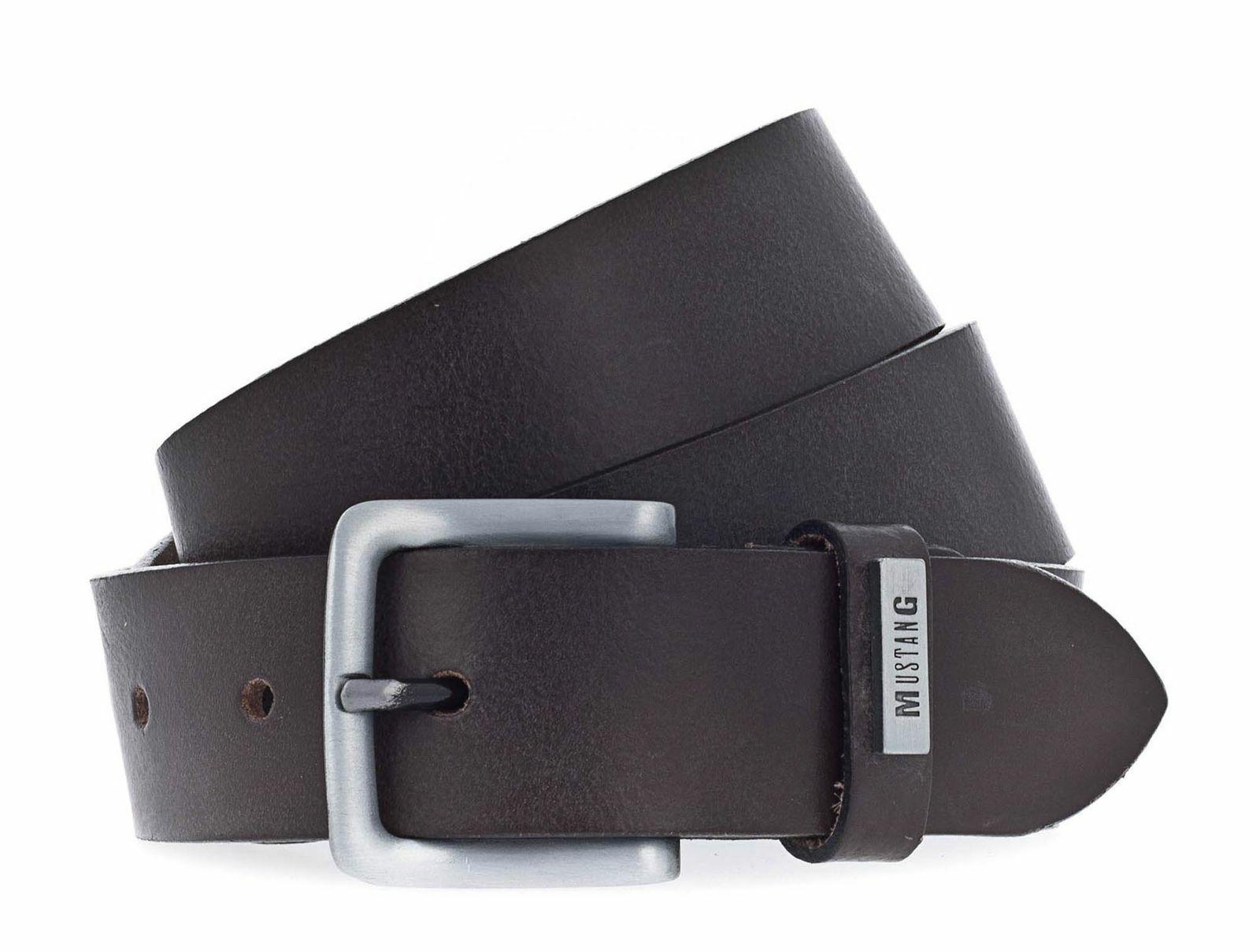 MUSTANG Adjustable Leather Belt 3.5 W105 Gürtel Accessoire Dark Brown Braun Neu