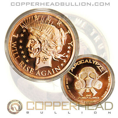 1x 1oz Peace Will Rise Again Copper Coin Apocalypse Zombie Currency Dollar Round