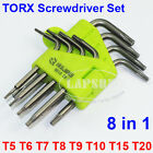 8pcs TORX CRV Screwdriver Set T5 T6 T7 T8 T9 T10 T15 T20 Star Wrench Tool 9610