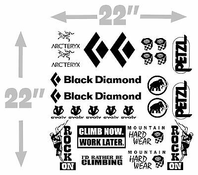 Set of 25 climbing decal vinyl brand logo climb sticker black diamond petzl