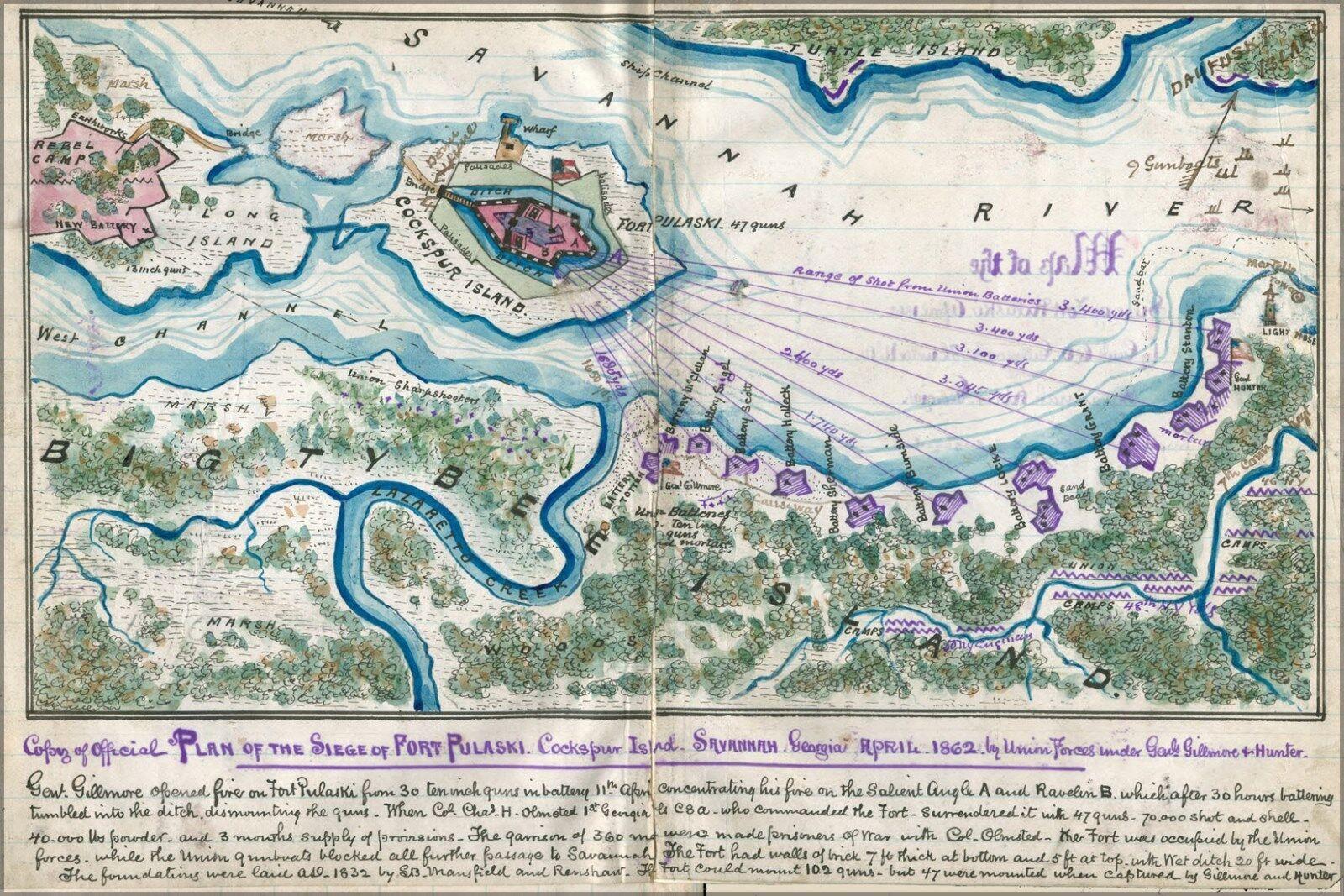 Plakat, Viele Größen; KKunste Siege Of Fort Pulaski Savannah Georgia 1862
