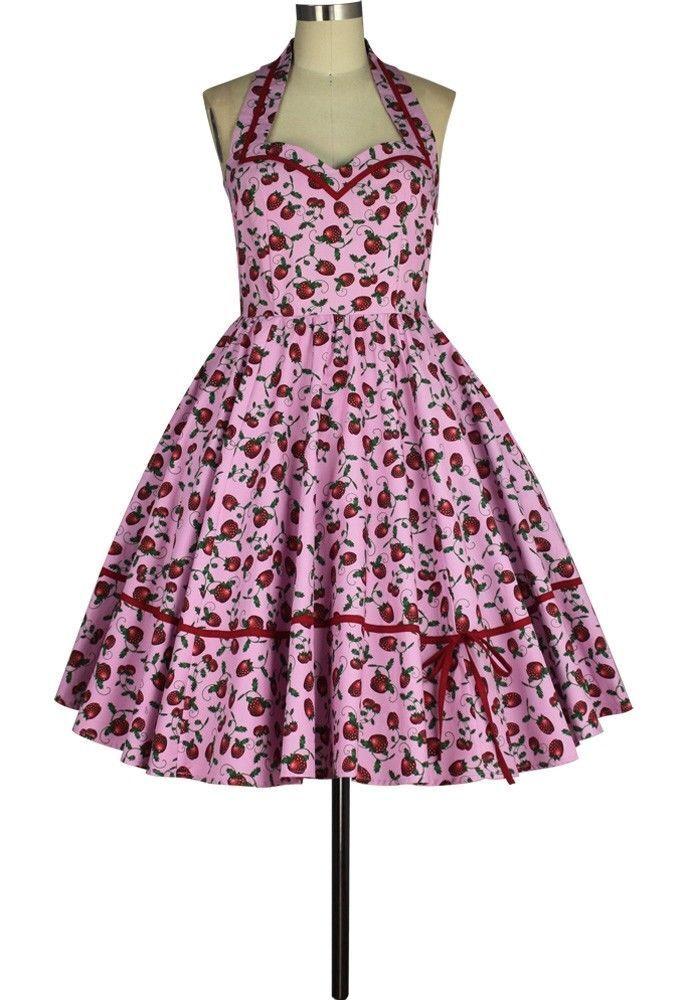 ANT 805A0 Damen Kleid Rockabilly 50er 60er Vintage Retro Neckholder Rosa Erdbeer