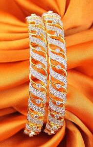 003 Indian Stunning Gold Plated Tone CZ Stone Party Wear Wedding Bangle Jewelry
