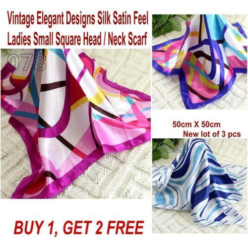 Lot 3 Pcs New Fashion Elegant Silk Satin Womens Small Square Head Neck Scarf 097