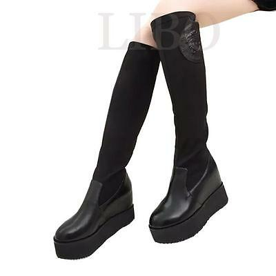 Fashion women knee high platform boots faux leather suede hidden wedge warm shoe