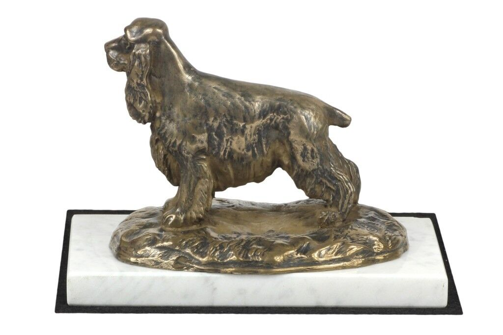 Cocker Spaniel - figurine made of Cold Cast Bronze on the white marble, Art Dog