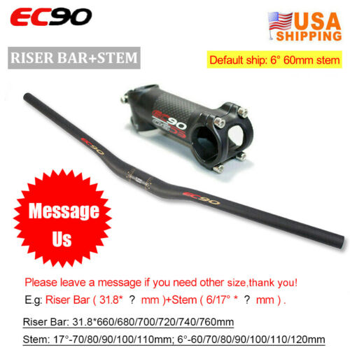 EC90 MTB Road Bike Carbon Handlebar 25.4//31.8mm Stem 6//17°Seatpost Ultralight