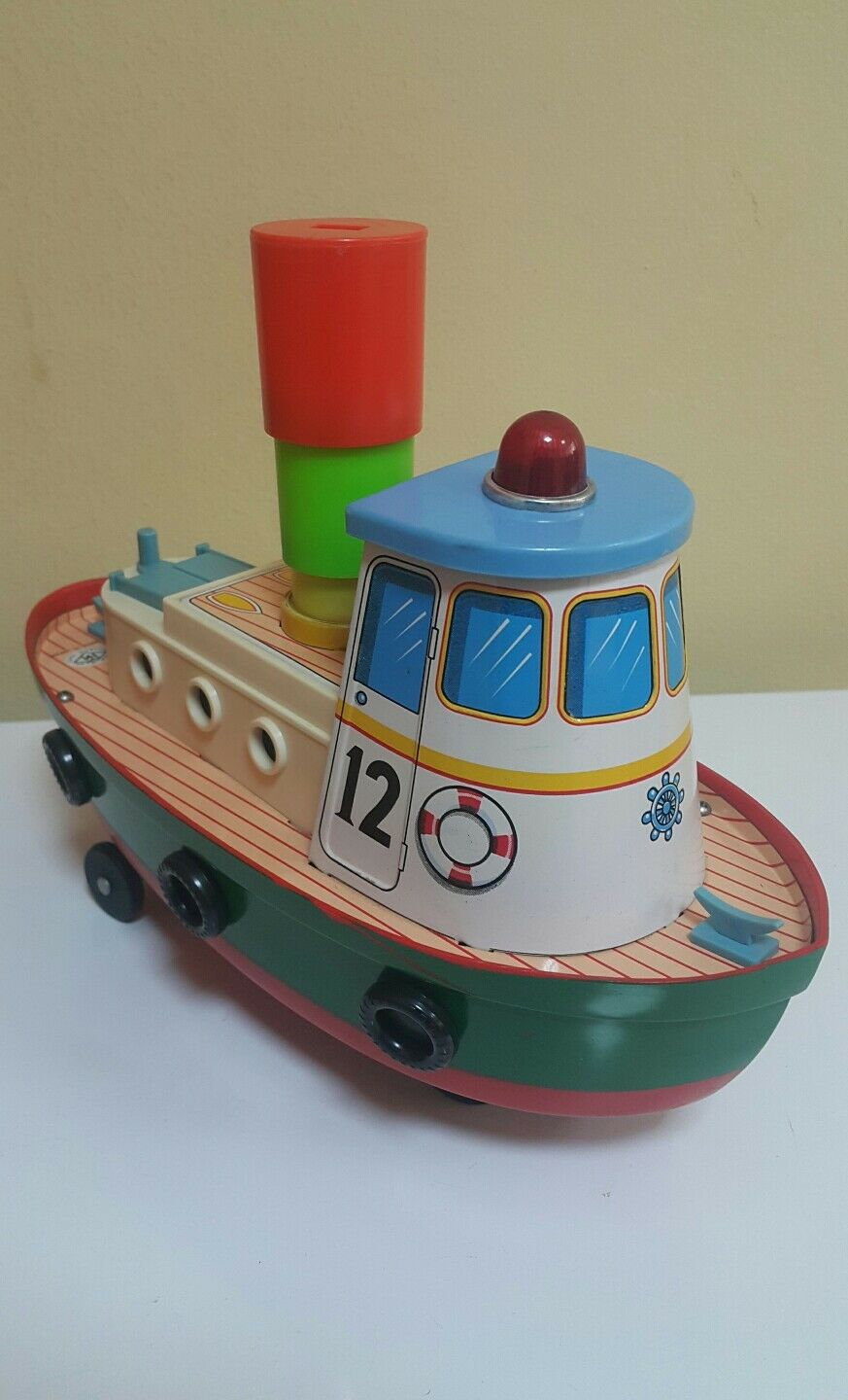 VINTAGE BOAT SHIP TOY JAPAN MODERN TOYS BATTERY OPERATED METAL PLASTIC MODEL N12