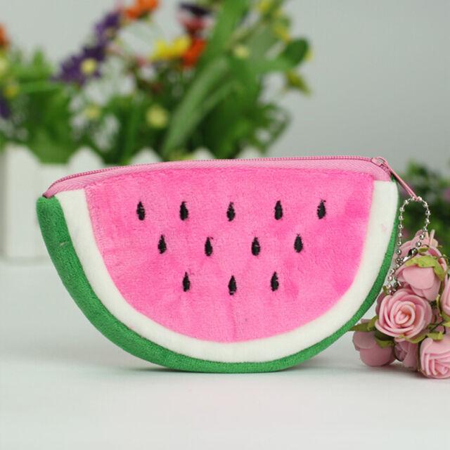 Watermelon Plush Stationery Pencil case Pen Purse Bag Lovely Cosmetic Ba wn