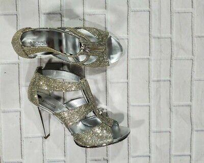 Strap Sandals Heel Silver Grey Glitter