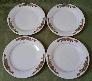 Image is loading 4-Poinsettia-&-Ribbons-Tienshan-China-10-5- & 4) Poinsettia u0026 Ribbons Tienshan China 10.5