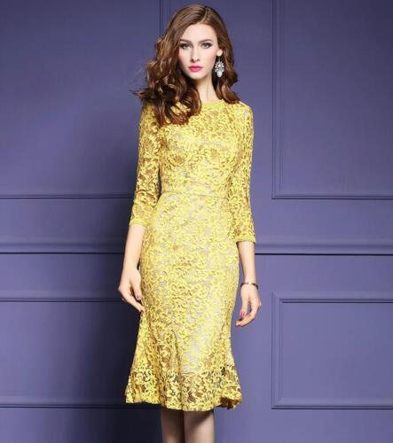 Elegant womens dress lace fishtail skirts embroidery Crewneck slim Fit Prom Gown