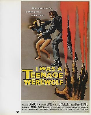 "2003 Vintage Horror /""I was a Teenage Werewolf/"" MINI Art Plate Lithograph"
