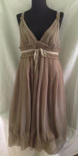 Vera Wang Mushroom Brown Sleeveless Silk Dress - S