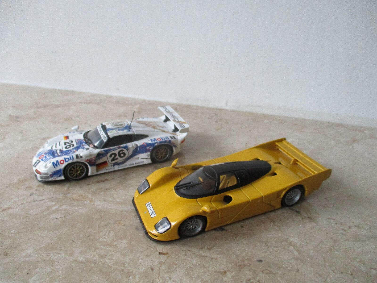 2 x coche modelo Minichamps duración Porsche 962 GT 94, 911 GT escala 1 43 sin OVP