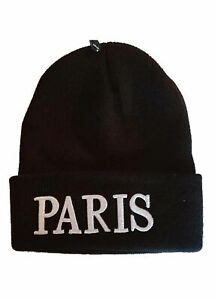Bonnet homme noir Broderie Inscription PARIS