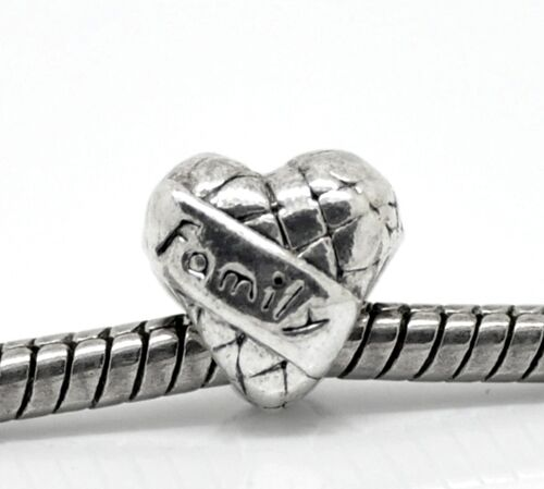 Antiqued Silver 10mm FAMILY Banner Heart Large 4.6mm Hole Charm Bead 1pc