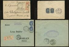 RUSSIA REGISTERED 1903 + 1907 ETIQUETTES to SWISS + GERMANY 20k RATES