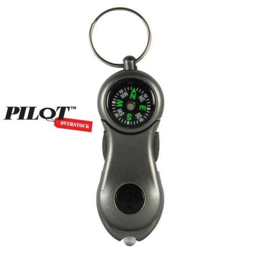 US SELLER SHIP FAST Pilot Automotive Mini Light /& Compass Survival Key Chain