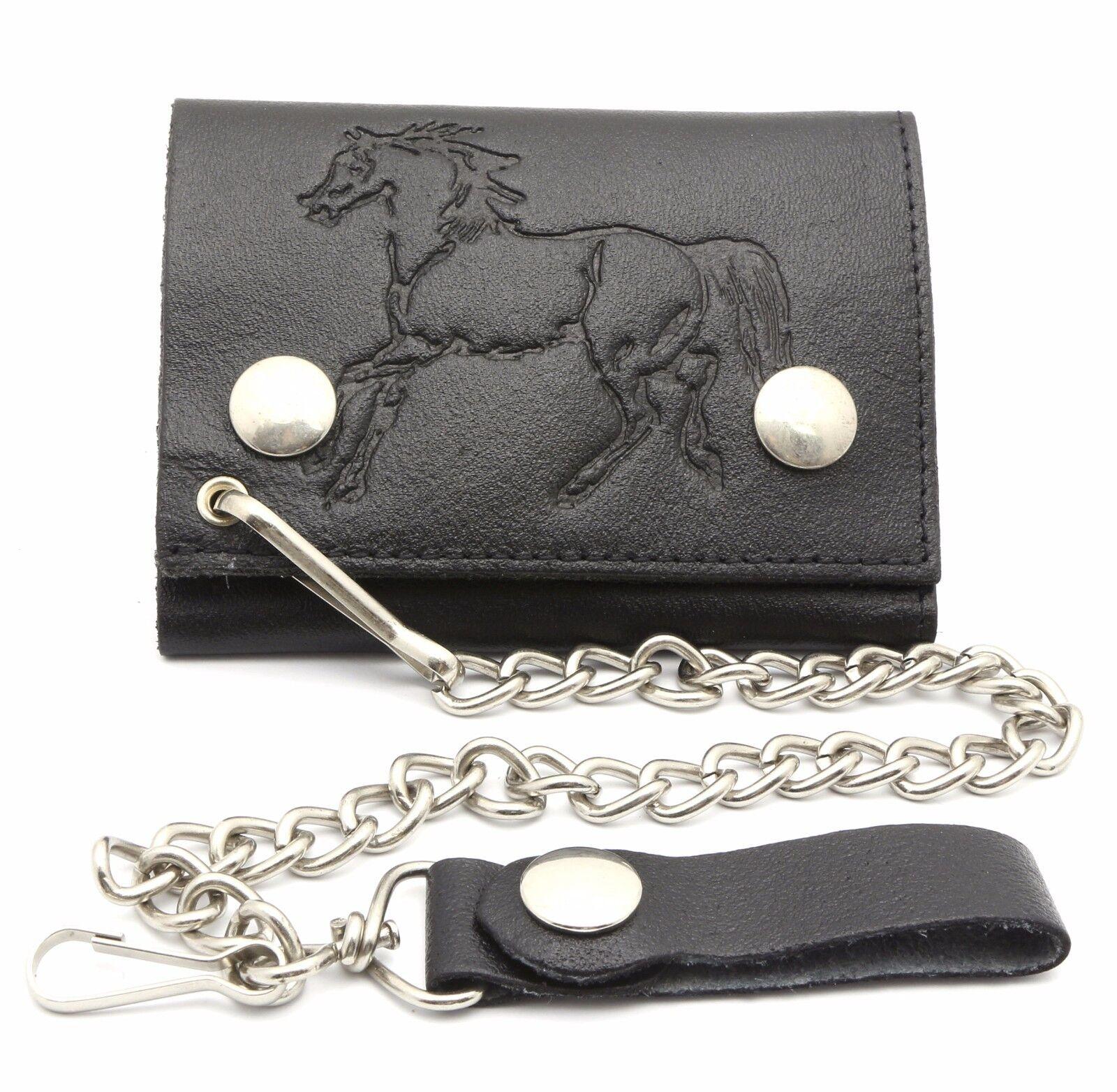 Trifold Black Leather Biker Chain Wallet Embossed Horse Design