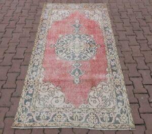 Medallion Design Vintage Distressed Carpet Anatolian Handmade Area Rug 4x7 ft