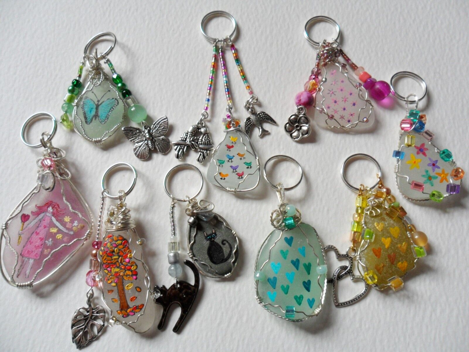 Hand painted sea glass & beach pottery bag charms - choice of designs